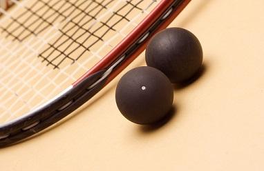 squash balls and racket